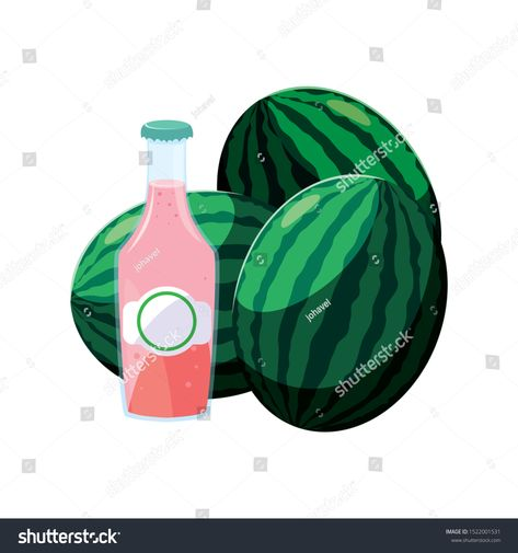 watermelon juice design, Drink glass beverage fresh food and healthy theme Vector illustration #Sponsored , #spon, #Drink#glass#beverage#watermelon