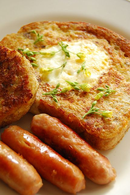 French toasted egg-in-a-hole