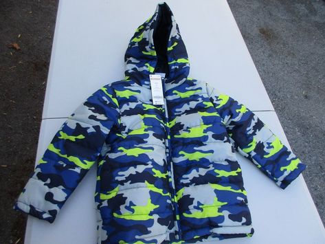 1ae2d24e9256 Gymboree Boys Camo Hooded Puffer Jacket Coat Blue Gray Camouflage XS ...