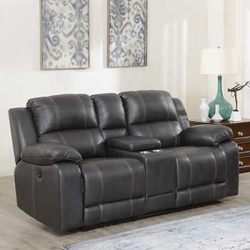 Dunhill Leather Power Reclining Loveseat With Console Power