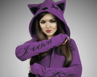 Purple cat hoodie ears animal kitty poison Violet by PaperCatsPL