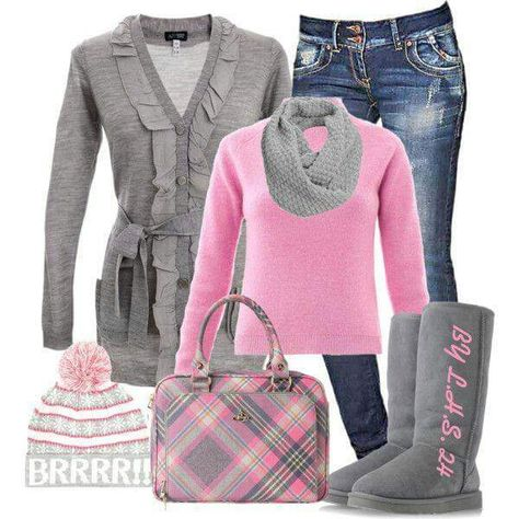 Pink and grey outfit,