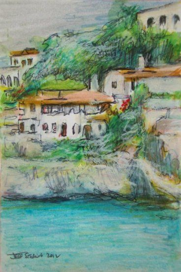 My Original India Ink And Watercolor Aquarelle Painting Of White