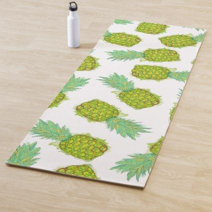 Tropical Summer Yellow Green Pineapples Fruit Yoga Mat Zazzle Com Summer Yellow Pineapple Fruit Tropical