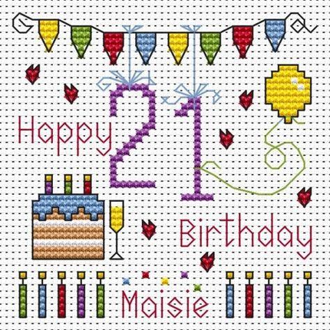 Happy 21st Birthday cross stitch card kit