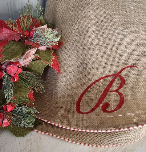 60 Natural burlap Christmas tree skirt with by TheBurlapCottage, $85.00