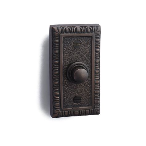 Wired Iron Doorbell Chime Push Button Vintage in Black Powder Coat Finish Vintage Decorative Door Bell with Easy Installation 2 3//4 X 1 7//8