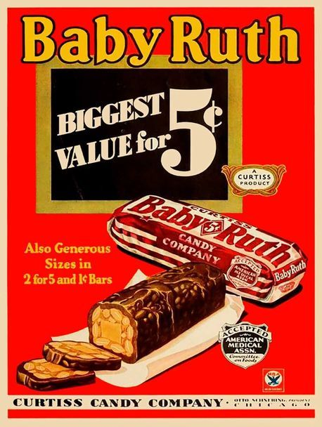 Baby Ruth Candy Bar Metal Sign Vintage Ads Vintage Advertisements Vintage Candy