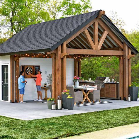 Outdoor Kitchen Pavilion Shed The Family Handyman - Outdoor Kitchen Bars, Backyard Kitchen, Outdoor Kitchen Design, Rustic Outdoor Kitchens, Backyard Studio, Backyard Bar, Cheap Storage Sheds, Shed Storage, Backyard Storage Sheds