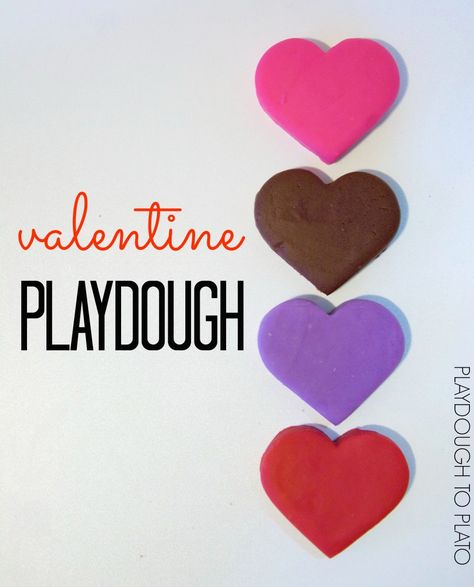Awesome Valentine Playdough. Candy heart, chocolate, lavender and rose playdough recipes for kids. These would be great kid-made, non-candy valentines for classmates!