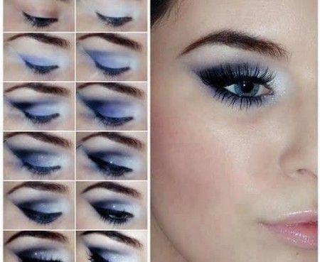 Maquillaje de ojos para un vestido azul rey