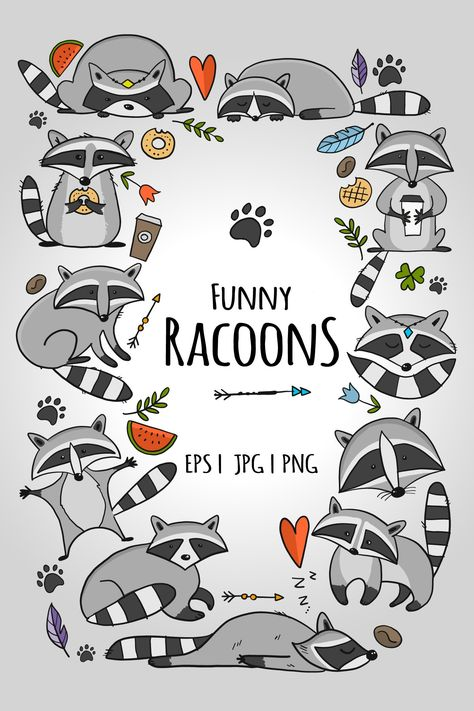 Racoons Family. Funny Characters. Icons set for your design (1346362) | Vectors | Design Bundles
