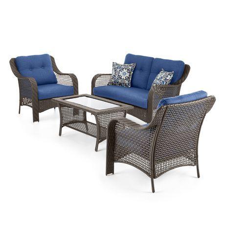 Hometrends Tuscany 4 Piece Conversation Set Walmart Canada Outdoor Furniture Sets Furniture Outdoor Sofa