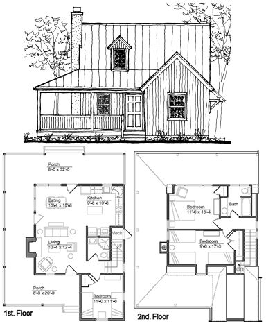 small cabin plans | How much space would you want in a BIGGER tiny house? |  My home | Pinterest | Tiny houses, Cabin and Spaces