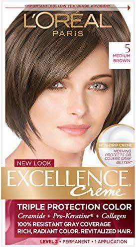 L Oreal Paris Excellence Creme Hair Color 5 Medium Brown Loreal Hair Color Chart Medium Brown Hair Permanent Hair Color