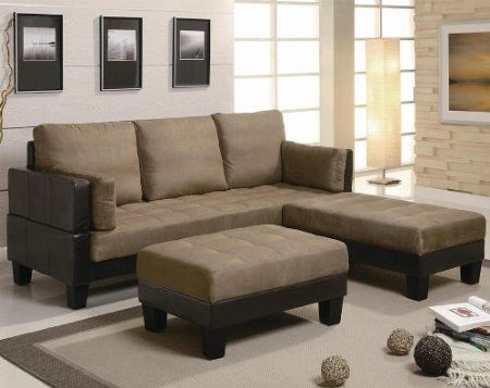 amazoncom sofa bed with button tufted in tan microfiber and brown leatherette base
