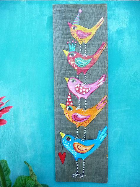 Silly Birds Repurposed Pallet Art  Patio Decor. $32,00, via Etsy.