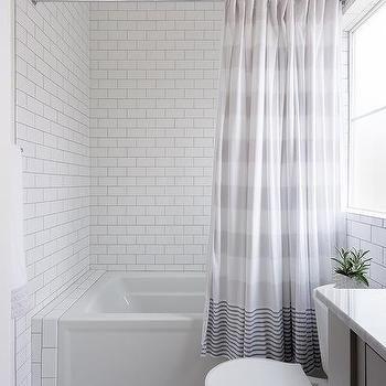 Gray Stripe Shower Curtain At Drop In Bathtub Shower Niche Vintage Shower Curtains Shower Curtain