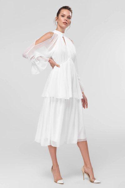 Beyaz Omuz Dekolteli Elbise Trendyolmilla Trendyol Elbise Kiyafet Elbise Modelleri