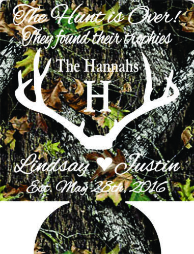 The Hunt Is Over Wedding koozies no minimums antlers can coolers quick ship