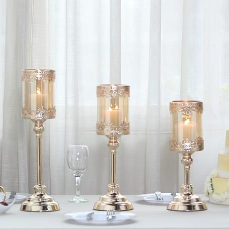 Set Of 3 Lace Design Gold Amber Hurricane Glass Candle Holder Set With Glass Tube 13 15 Glass Hurricane Candle Holder Candle Holders Glass Candle Holders