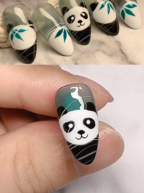 Panda nail design #nails #nailart #naildesign