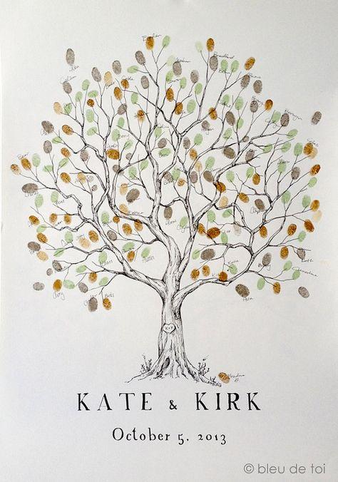 Fingerabdruck-Baum+Hochzeit+Gäste+Buch+Alternative+von+bleudetoi