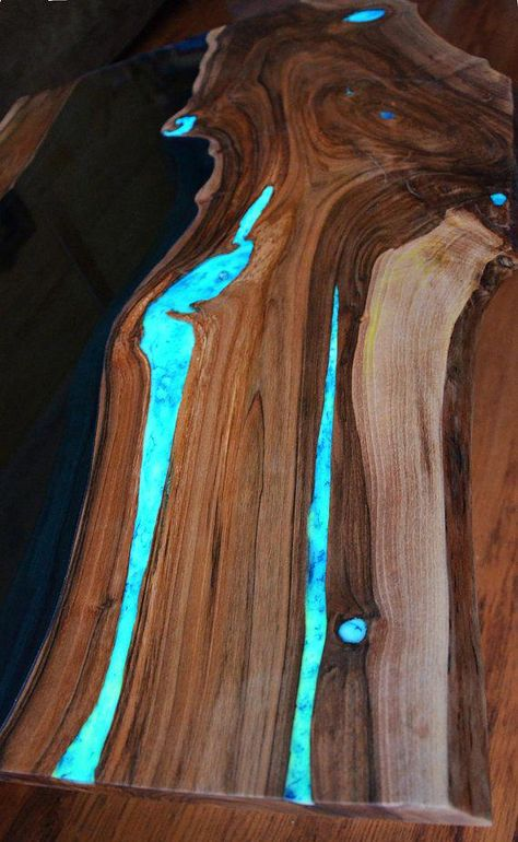 ON SALE Live edge river coffee table with glowing resin fillin #buildwoodtable