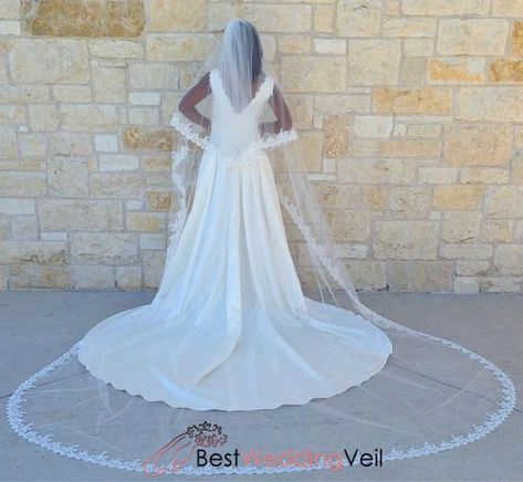 This lovely wedding veil is so romantic. It is made with very soft bridal illusion tulle,beaded lace applique edge,allowing your dress to shine through.Long alencon lace veil, It is double layers. This veil comes with a perfect appliqued raw edge. Overview Handmade itemColor Available: Ivory,WhiteOccasion:WeddingVeils