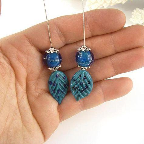 8 Blue Assorted medium clay bracelet beads; rustic earthy stained handmade primitive ooak
