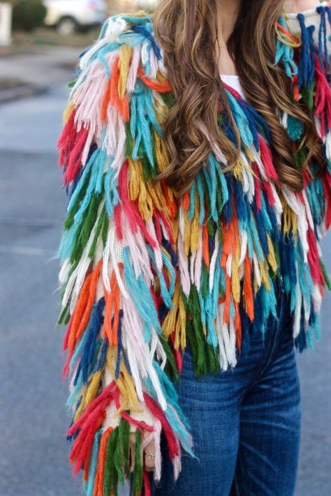 The Naked Tiger Andi Bagus Rainbow Plush Shag Jacket, Colorful Shaggy Jacket Custom Clothes, Diy Clothes, Boho Fashion, Fashion Outfits, Fashion Design, Mode Sombre, Crochet Fringe, Shaggy, Crochet Fashion