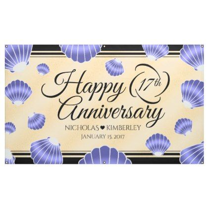 Elegant 17th Shells Beach Sand Wedding Anniversary Banner Zazzle