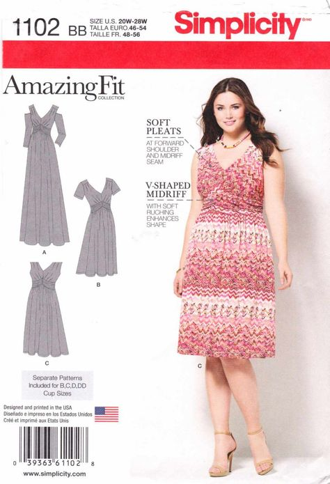 Simplicity Amazing Fit Pattern 1102 Womens Knit Dress with Variations Sizes 20W-28W