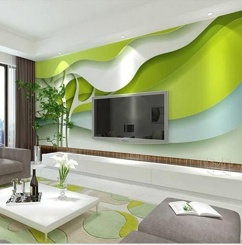 Green Trees Abstract Wallpaper 3d Wallpaper For Walls Mural Wallpaper Modern Wallpaper