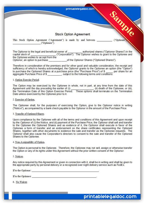 Printable stock option agreement Template PRINTABLE LEGAL FORMS - sample stock purchase agreement example