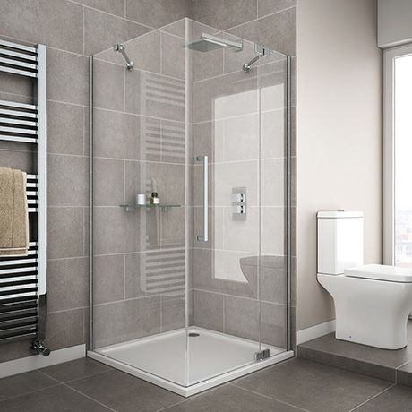 Square 760 X 760 Rh Hinged Frameless Shower Enclosure Tray In