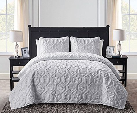 Cotton World Li Premium 3 Piece Oversized Coverlet Set as Bedspread Bed Cover Reversible Luxury Light Weight 106 x 98//Pillow Shams 20 x 36 Quilt Set King Wrinkle /& Fade Resistant-King//CA King