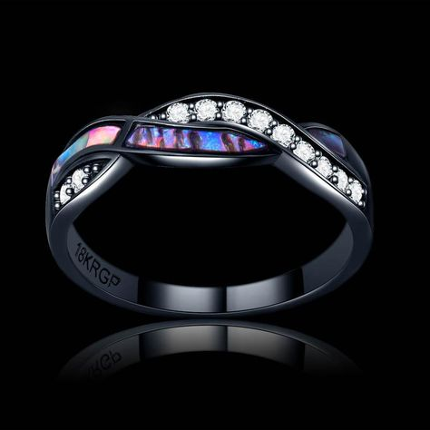 F/&T JEWEL White Blue Pink Fire Opal Fashion Jewelry Ring For Women Engagement Wedding Bridal Rings