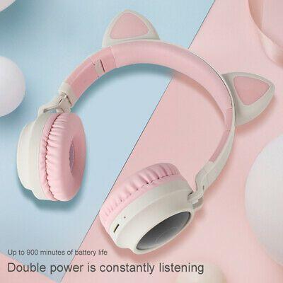 Details About Portable Wireless Cat Ear Headphones Bluetooth Headset Led Lights Earphone Kids Wireless Cat Ear Headphones Headphones Bluetooth Headphones Wireless
