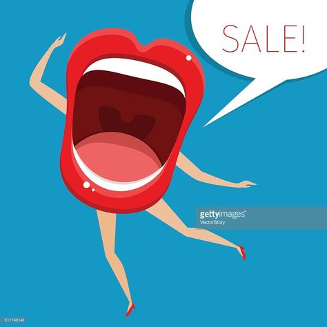 Concept Of Sale Open Mouth With Legs And Hands Vector Illustration Clipart Et Bouche Ouverte