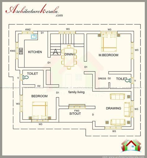 1300 Square Feet Contemporary House With Three Bedrooms House Plans Floor Plan Design Bedroom Layout Design