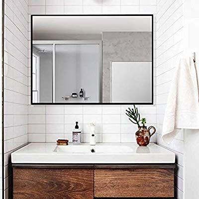 Amazon Com Linsgroup Large Modern Wall Mounted Frame Mirror Rectangle Hangs Horizontal Or Vertical For Simple Bathroom Bathroom Vanity Mirror Bathroom Trends