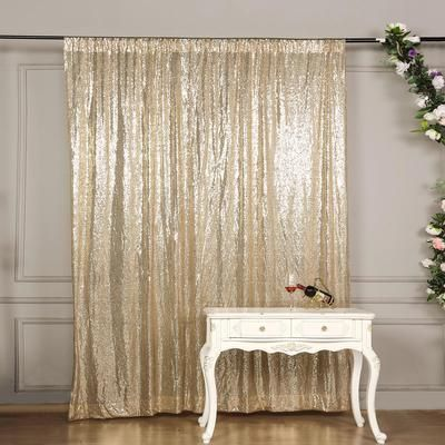 8 Ft Champagne Sequin Curtains Photo Booth Backdrop
