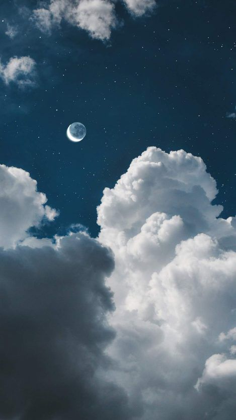White Clouds Twilight Moon Iphone Wallpaper Cloud Wallpaper Sky Aesthetic Blue Wallpaper Iphone