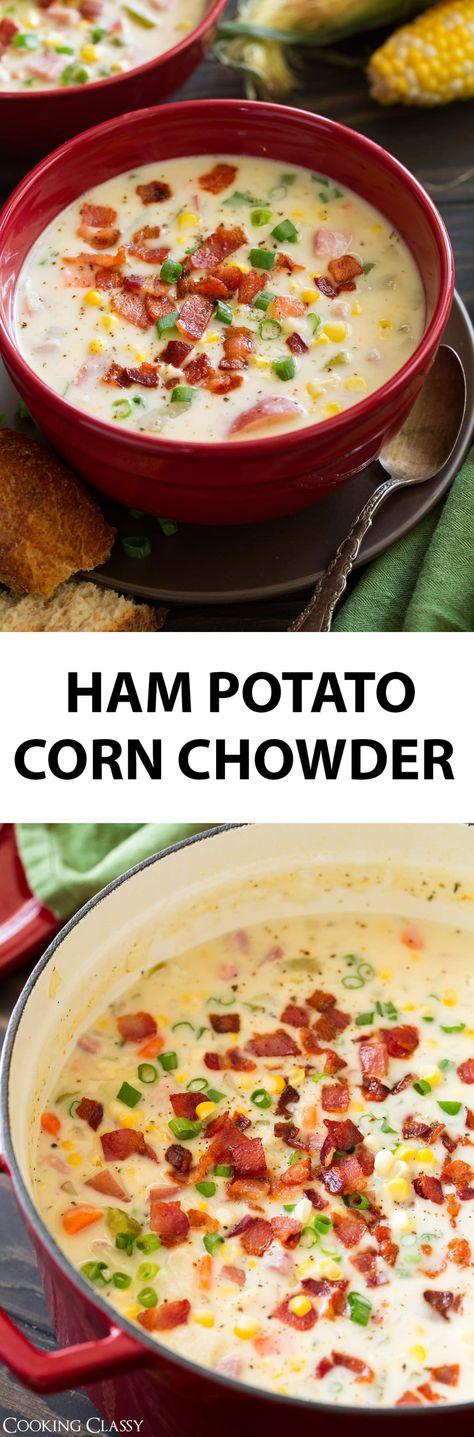 Creamy Ham Potato and Corn Chowder - the ultimate comfort food! This soup is amazing! #potatochowder #cornchowder #soup #fall #recipe