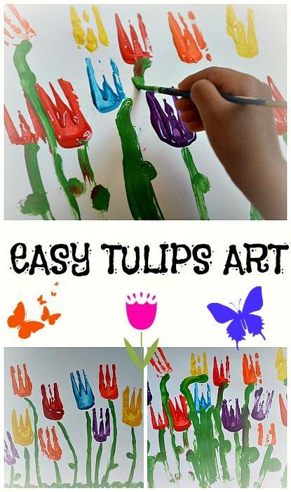 Easy tulip art. #toddler #preschool #prek #kindergarten #kids #children #tulip #art #painting #kindergarten #preschool #spring #springtime #diy #craft