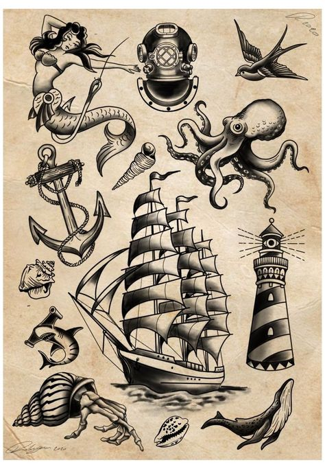 Pirate Ship Tattoo Traditional, Traditional Nautical Tattoo, Traditional Sailor Tattoos, Traditional Lighthouse Tattoo, Traditional Tattoo Drawings, Traditional Tattoo Old School, Traditional Tattoo Design, Traditional Tattoo Sleeves, American Traditional Tattoos
