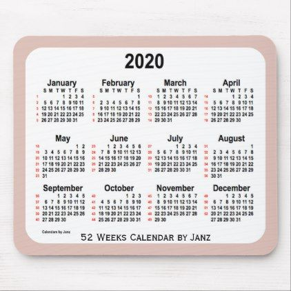 2020 Thistle 52 Weeks Calendar By Janz Mouse Pad Home Gifts Ideas Decor Special Unique Custom Individual Cust Gold Mouse Pad Custom Calendar Holiday Calendar