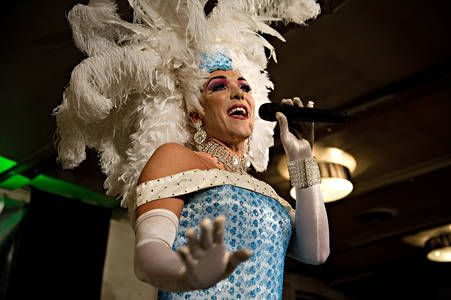 Drag Queen Peter Andersen gives four times a month drag show at Café Frederik in Esbjerg, where he imitates famous singing stars.