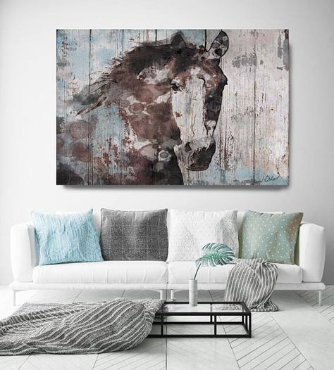 Rustic Canvas Wall Art.Wild Blue Horse Extra Large Horse Wall Decor Brown Rustic
